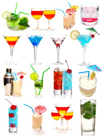 Many cocktails isolated on white background photo