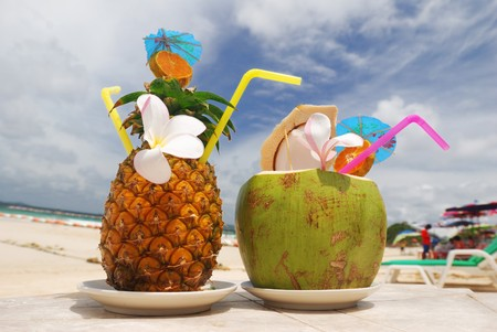Tropical cocktails on the beach