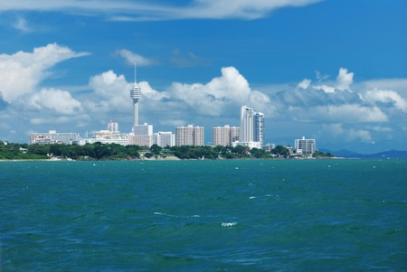 pattaya: Pattaya cityscape view from ocean Stock Photo