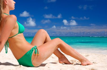 Bikini girl on caribbean beach Stock Photo - 4305182