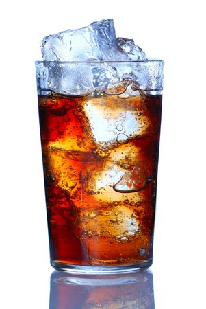 quenching: Glass with cola isolated on white