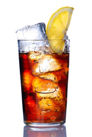 cola: Glass with cola & lemon isolated on white
