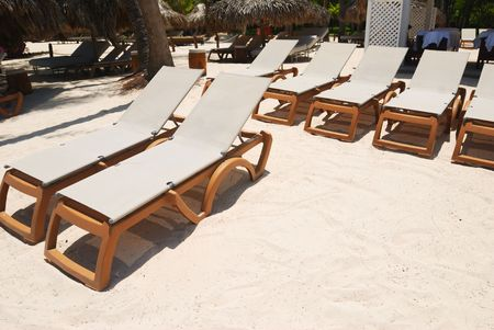 chaise lounge: Beautiful caribbean beach with chaise lounge in Dominican Republic