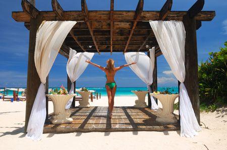 gazebo: Beautiful caribbean beach with pergola in Dominican Republic