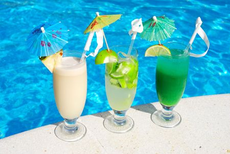 Cocktails near the swimming pool photo