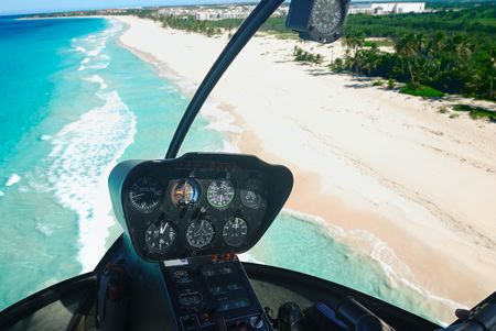 Beautiful caribbean beach in Dominican Republic aerial view from helicopter