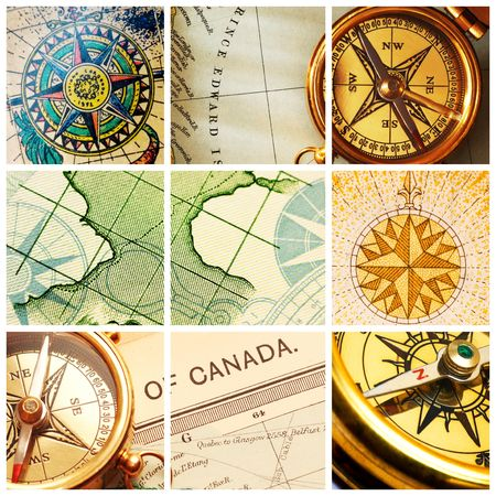Collage with old compasses and maps