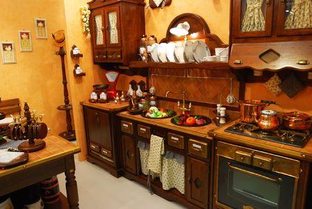 azulejos cocina: Classic antigua cocina interior Foto de archivo