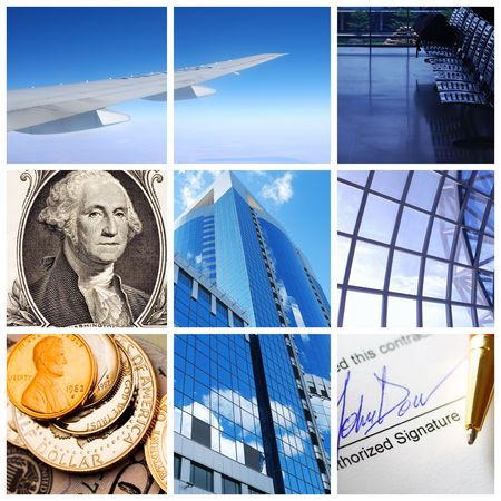 Collage background with business and travel concept Stock Photo