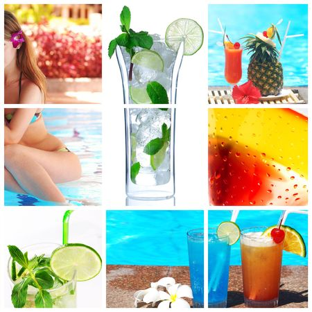 Collage background with cocktail and travel concept photo