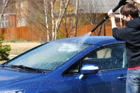 open air: Blue car washing on open air Stock Photo