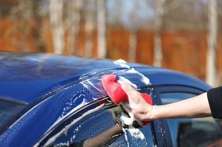 Blue car washing on open air Stock Photo - 5053983
