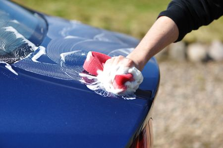 Blue car washing on open air Stock Photo - 5053857