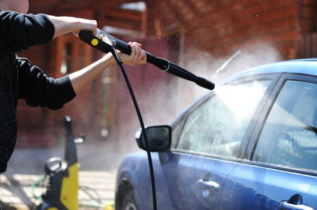 Blue car washing on open air Stock Photo - 5053906