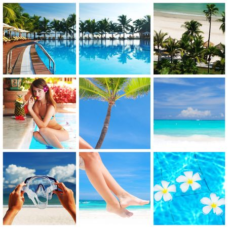 snorkel: Collage made with beautiful tropical resort shots Stock Photo