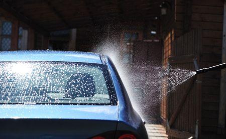 Blue lavaggio auto a cielo aperto Archivio Fotografico