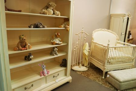 Old fashioned nursery interior baby room photo