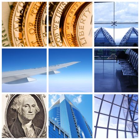 Collage background with business and travel concept photo