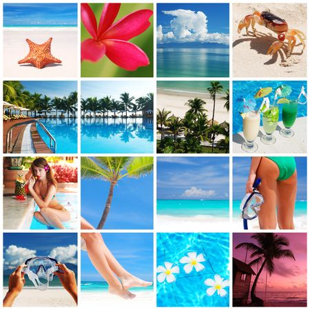 sky diving: Collage made with beautiful tropical resort shots Stock Photo