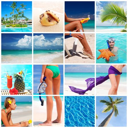 Collage made with beautiful tropical resort shots Stock Photo