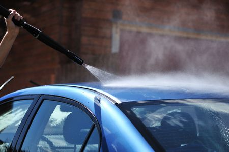 sud: Blue car washing on open air Stock Photo
