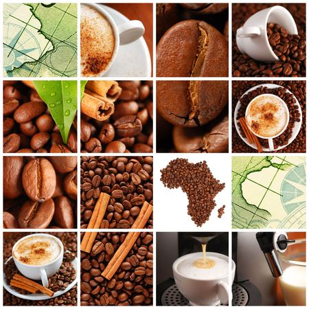 Collage made with coffee beans, cups and other Stock Photo - 5474255