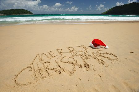 Santa's hat on a tropical beach Stock Photo - 5474478