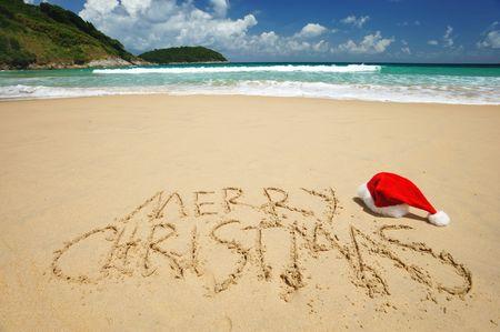 beach hat: Santas hat on a tropical beach