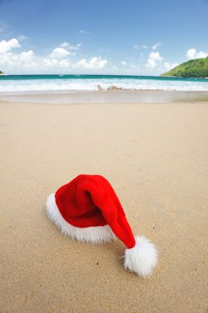 Santa's hat on a tropical beach Stock Photo - 5534970