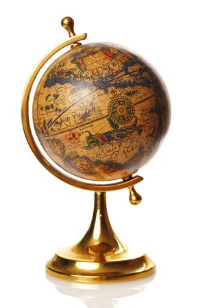 maps globes: Old globe isolated on white background with reflection