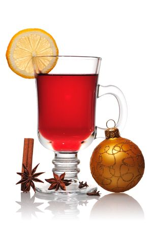 punch spice: Mulled wine christmas still life isolated on white with soft reflection Stock Photo