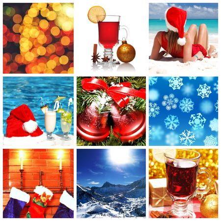 beach ball girl: Collage made with christmas shots and illustrations