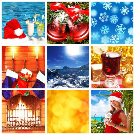 Collage made with christmas shots and illustrations illustration