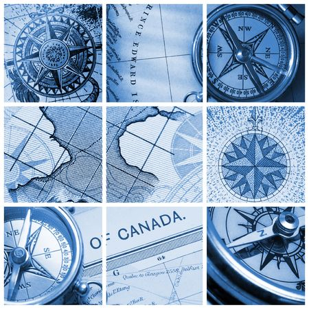 Collage with old compasses and maps photo