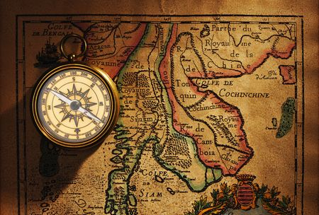 Beautiful Old Brass Compass Over Antique Thailand Map Stock Photo - Antiques us maps with compass
