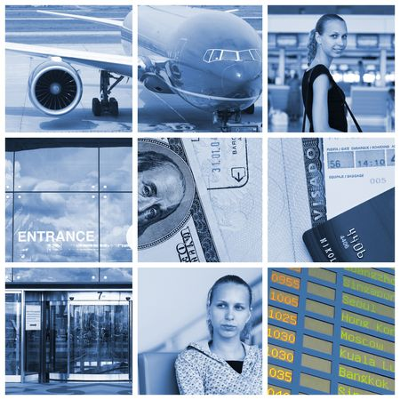 Collage with travel and transport concept photo