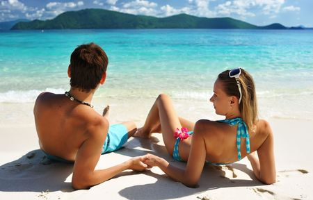 bikini couple: Couple on a tropical beach