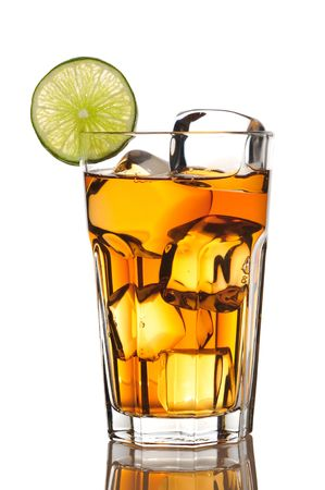 Iced tea with lime isolated on white