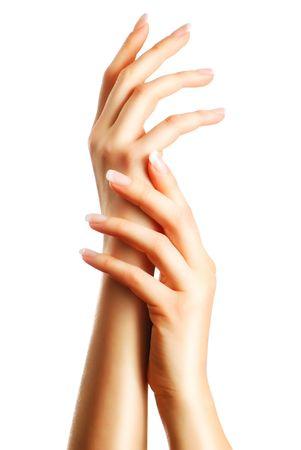 manicura: Hermosas manos femeninas con manicura francesa