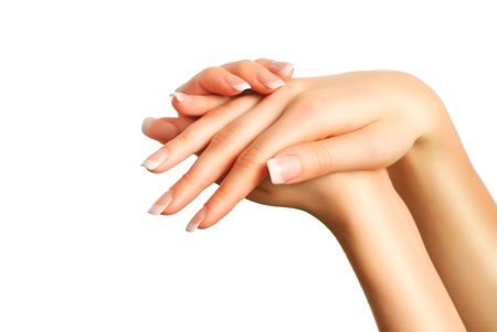 french manicure: Beautiful female hands with french manicure Stock Photo