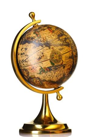 old world: Old globe isolated on white background