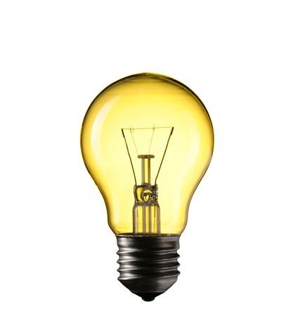 id�e lumineuse: Ampoule de lumi�re isol�e sur fond blanc  Banque d'images