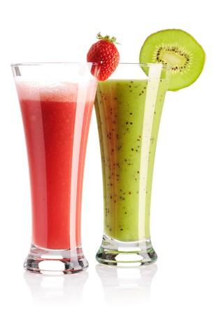 Strawberry & kiwi smoothie isolated on white photo