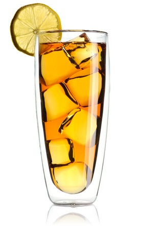Iced tea with lemon isolated on white photo
