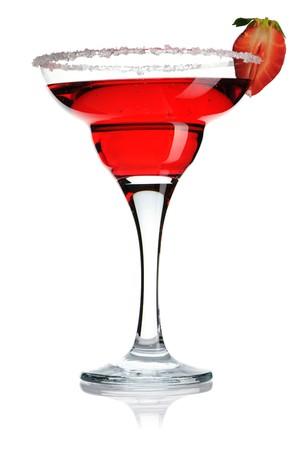 margarita cocktail: Fragola Margarita cocktail isolata on white