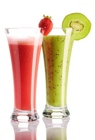 Strawberry & kiwi smoothie isolated on white Stock Photo - 7309232