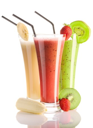 Smoothies isolated on white - strawberry, kiwi & banana photo