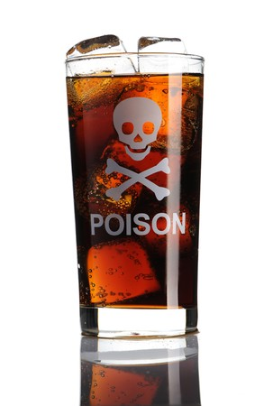 """Glass with cola and """"Poison"""" sign"""