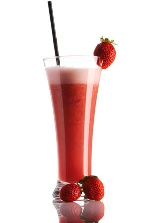 Strawberry smoothie isolated on white photo