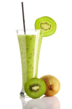 blended: Kiwi smoothie isolated on white